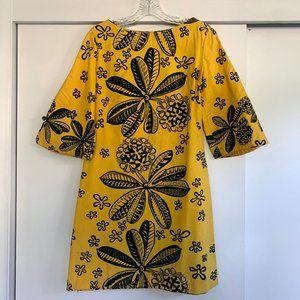 Vintage Hawaiian gold and black mini dress
